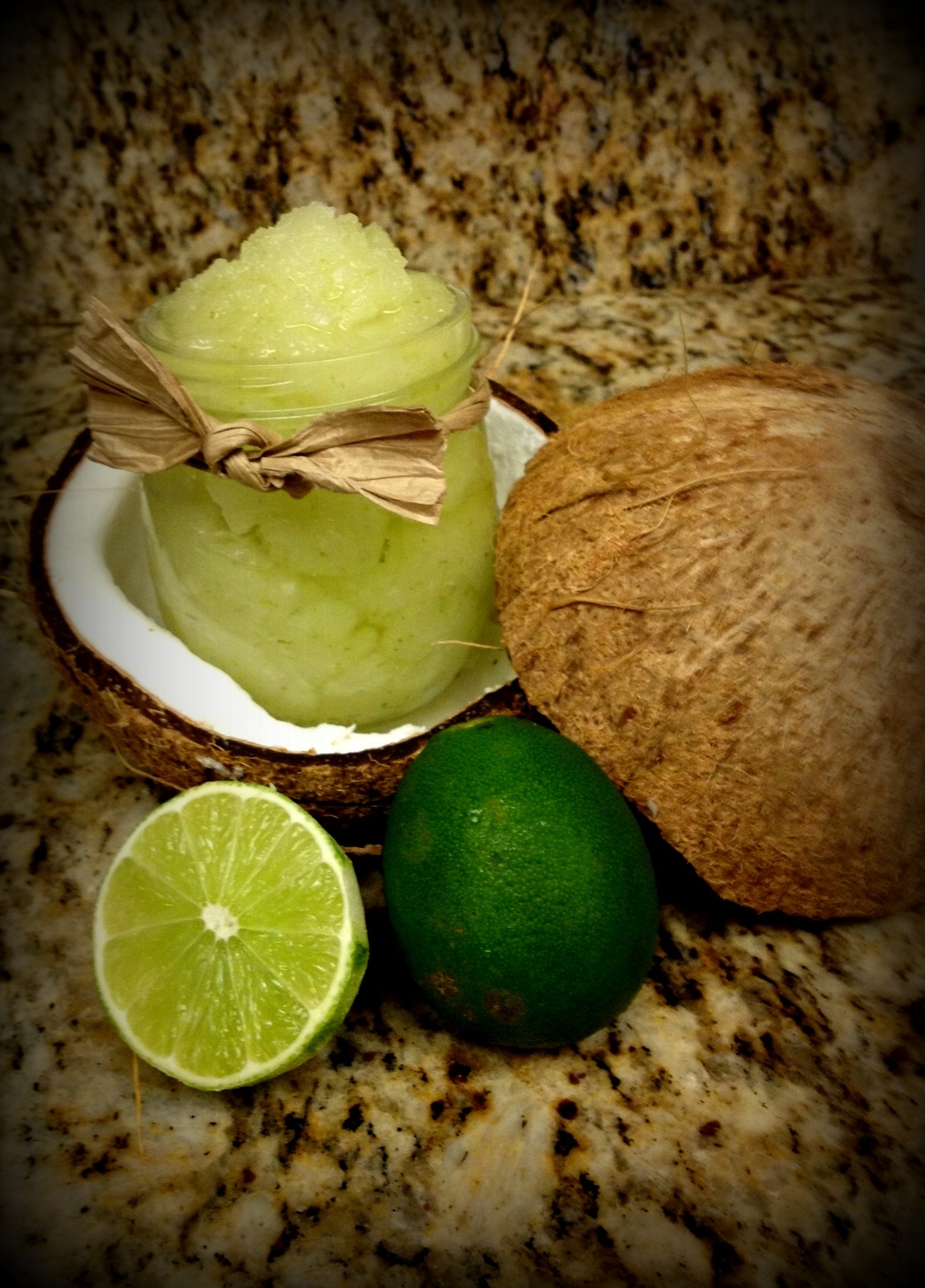 Jar, coconut, and limes